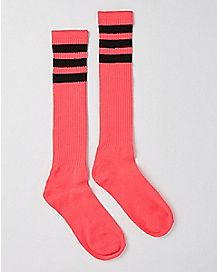 Athletic Stripe Knee High Socks - Pink and Black