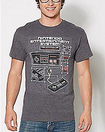 NES Controller Blueprint Nintendo T Shirt