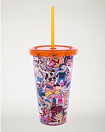 90s Nickelodeon Cup with Straw - 16 oz