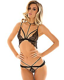 Black Lace Strap Bra and Panties Set