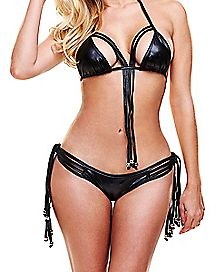Wetlook Fringe Bra and Panties