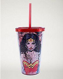 Wonder Woman Cup With Straw 16 oz - DC Comics