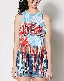 Miss USA Tie Dye Fringe Tank Top