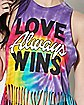 Love Always Wins Tie Dye Fringe Tank Top