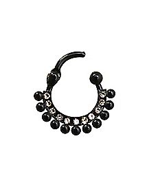 Black Ball and CZ Clicker Septum Ring - 16 Gauge