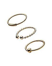 Twisted Hoop Nose Ring 3 Pack - 20 Gauge