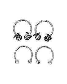 Rose Horseshoe Rings 4 Pack - 16 Gauge