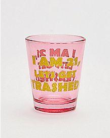 21 Birthday Get Trashed Glitter Shot Glass - 1.5 oz.