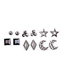 Gray Star and Moon Earring 6 Pair