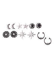 Black Star and Moon Earring 6 Pair