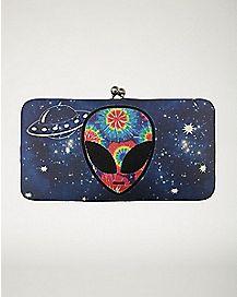 Tie Dye Alien Hinge Wallet