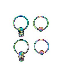 Rainbow Skull Captive Ring 4 Pack - 16 Gauge