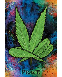 Weed Leaf Peace Poster
