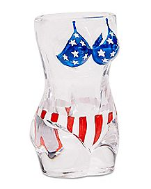 Red White and Blue Bikini Female Body Shot Glass - 2 oz.