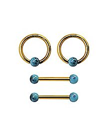 Turquoise-Effect Captive Ring and Barbell 2 Pair - 14 Gauge