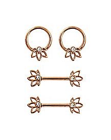 Rose Goldtone Lotus Nipple Barbell and Captive Set - 14 Gauge