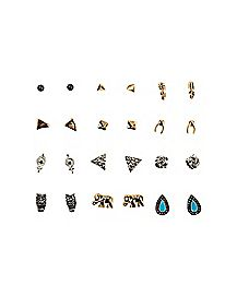 Multi-Pack Stud Earrings - 12 Pair