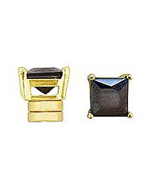 Square Black CZ Magnetic Earrings
