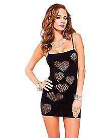 Mesh Heart Cutout Dress
