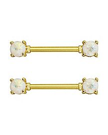 White Opal-Effect Nipple Barbells 1 Pair - 14 Gauge