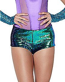 Blue and Purple Reversible Sequin Shorts