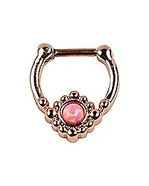Rose Goldplated Opal Clicker Septum Ring - 16 Gauge