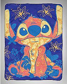 Floral Stitch Fleece Blanket - Lilo & Stitch