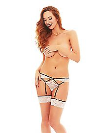 Studded White Lace Thong and Garter Set