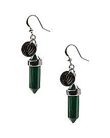 Green Heart Chakra Dangle Earrings