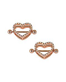 Rose Goldplated Heart CZ Nipple Shields - 14 Gauge