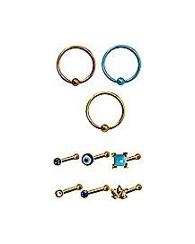 Multi-Pack CZ Nose Rings 9 Pack - 20 Gauge