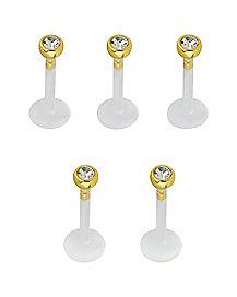 CZ Labret Rings 5 Pack - 16 Gauge