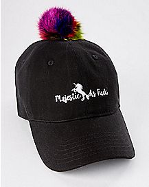 Unicorn Rainbow Pom Dad Hat