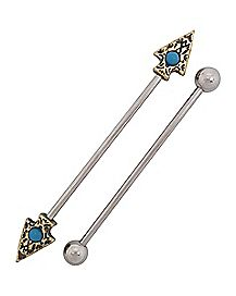 Turquoise-Effect Arrow Industrial Barbell 2 Pack - 14 Gauge