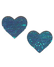 Black and Turquoise Sequin Heart Nipple Pasties