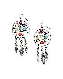 Chakra Dreamcatcher Dangle Earrings