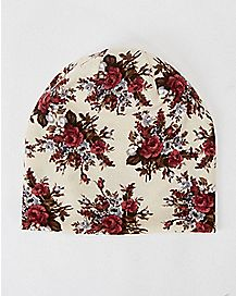 Floral Knit Beanie Hat