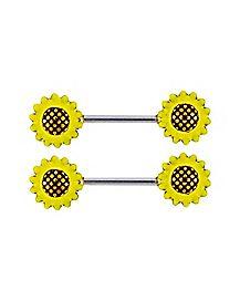 Sunflower Nipple Barbells - 14 Gauge