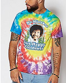 Happy Accidents Tie Dye Bob Ross T Shirt