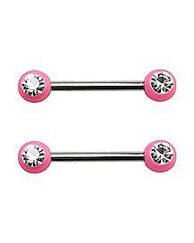 Pink Gem Barbell Nipple Rings - 14 Gauge