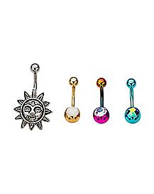 Multicolor Sun Belly Ring 4 Pack - 14 Gauge