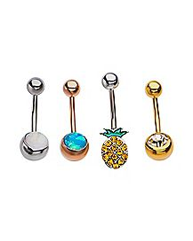 Multi-Pack Pineapple CZ Belly Rings 4 Pack - 14 Gauge