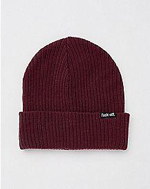 Maroon Fuck Off Beanie Hat