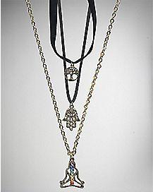Chakra Hamsa Necklaces - 3 Pack