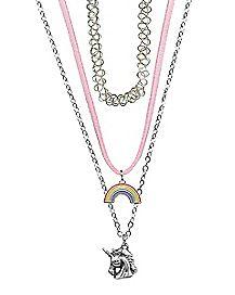 Rainbow Unicorn Necklace 3 Pack