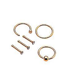 Multi-Pack Hoop and Stud Nose Ring 6 Pack - 18 Gauge