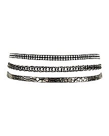 Snake Print and Chain Choker Necklace - 3 Pack