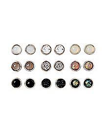 Neutral Stud Earrings - 9 Pair