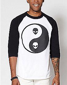 Yin Yang Alien Raglan T Shirt