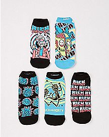 Trippy Rick and Morty No Show Socks - 5 Pair